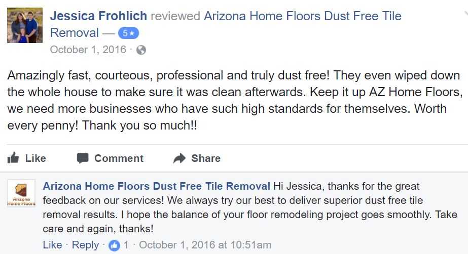Jack King & Arizona Home Floors Dust Free Tile Removal Reviews