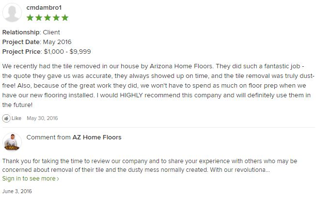 houzz review of dust free removal of floor tile by arizona home floors