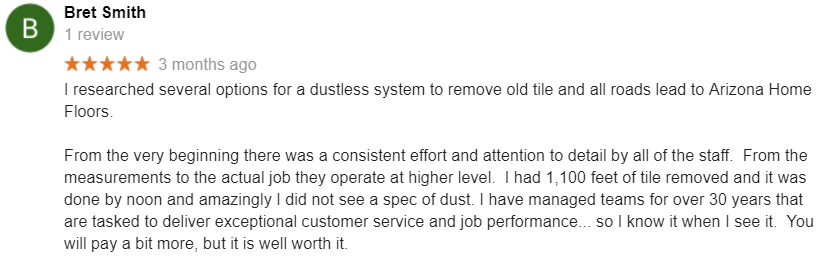 Bret Smith Google Review No Dust