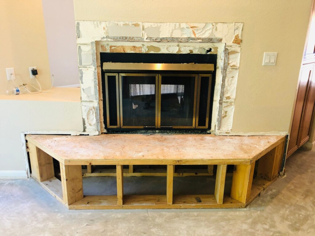 after dust free tile removal fireplace